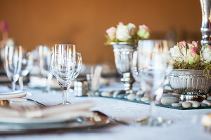 Decorated table with glassware and cutlery