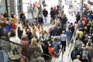 shopping center crowd